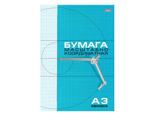 Бумага миллиметровая А3  8л 295*420 мм голубая на скобе Hatber 8Бм3_02285