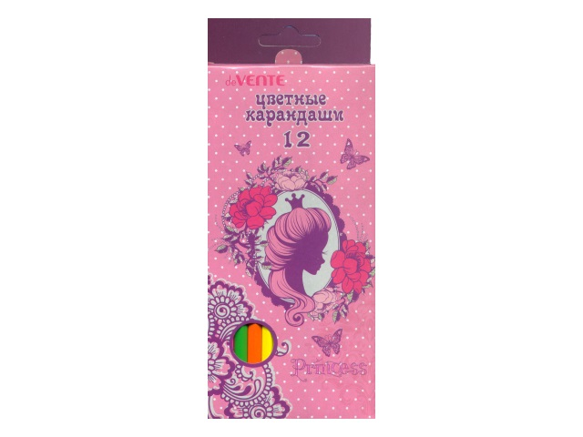 Карандаши цветные 12 цветов Princess, шестигранные, DeVente 5022701