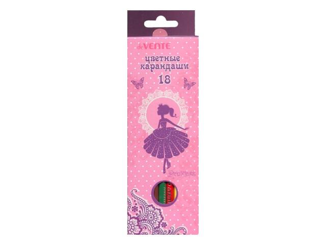 Карандаши цветные 18цв DeVente Princess шестигранные 5023701