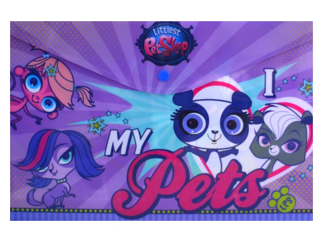 Папка конверт на кнопке А4 детская Академия Групп Littlest Pet Shop LPEB-US1-PLB-EN15