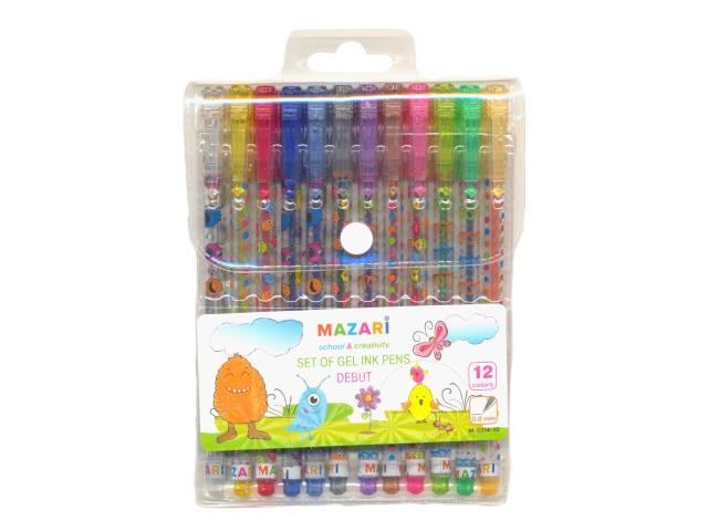 Ручка гелевая детская набор 12цв Mazari Debut 0.8мм с глиттером М-5514-12