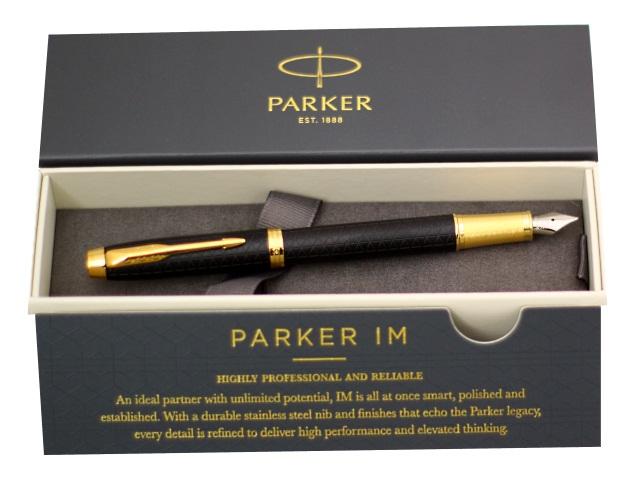 Ручка перьевая металлическая с капсулой, синие чернила, корпус - черный, в футляре, IM Premium, Parker 1931646