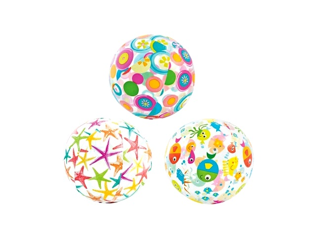 Мяч надувной  51см с рисунком прозрачный Intex 59040