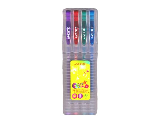 Ручка гелевая детская набор  4цв DeVente Cosmo 1мм с глиттером 5051408