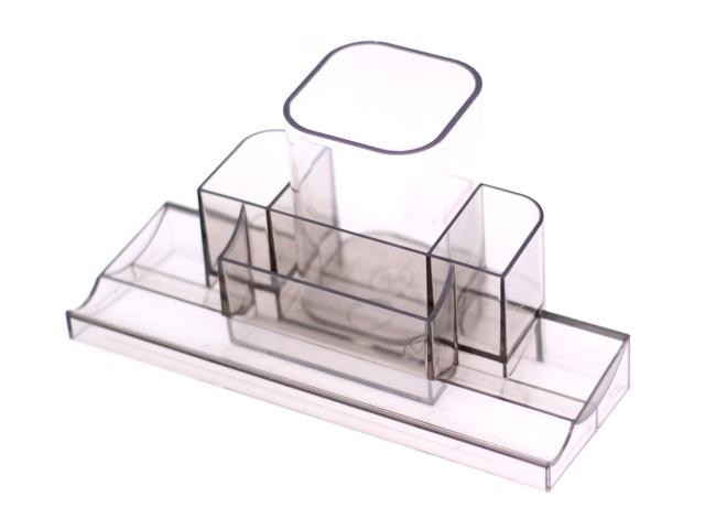 Подставка для ручек  7 отделений Tower прозрачная дымчатая DeVente 4102506