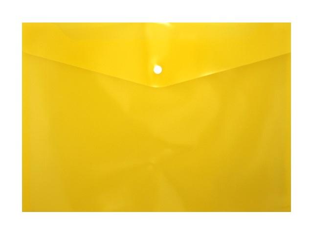 Папка конверт на кнопке А4 желтая прозрачная 180мкм DeVente 3071409