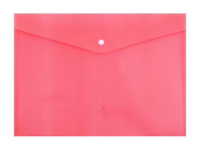 Папка конверт на кнопке А4 красная прозрачная 180мкм DeVente 3071406