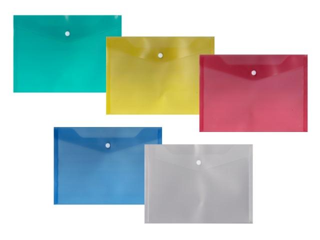 Папка конверт на кнопке В5 цветная прозрачная 180мкм DeVente 3071414