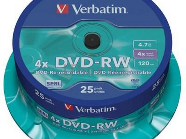 Диск DVD+RW Verbatim Кейк Silver 25 шт. 4.7GB 4x