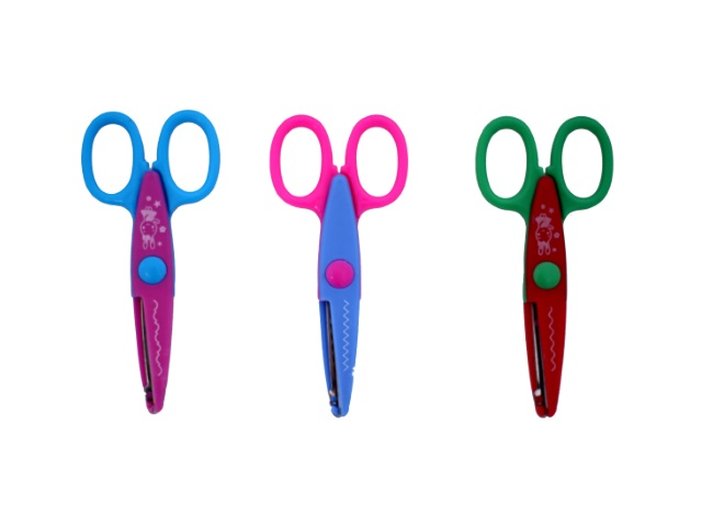 Ножницы фигурные 13.5 см детские Зиг-Заг с пластиковыми ручками, цвета в ассортименте, Basir МС-1629