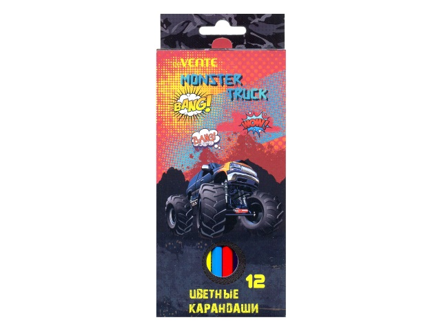 Карандаши цветные 12цв DeVente Monster Truck шестигранные 5022707
