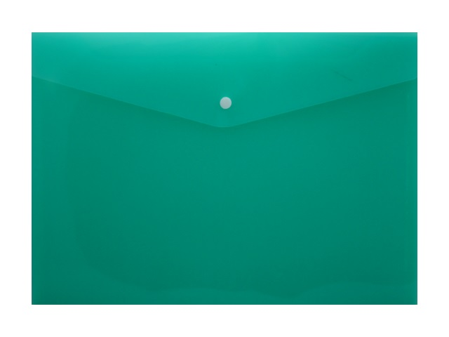 Папка конверт на кнопке А4 зеленая прозрачная 180мкм DeVente 3071408