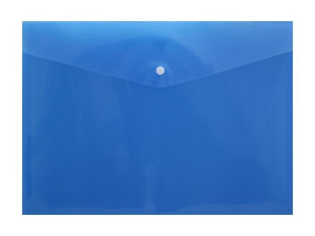 Папка конверт на кнопке А4 синяя прозрачная 180мкм DeVente 3071407