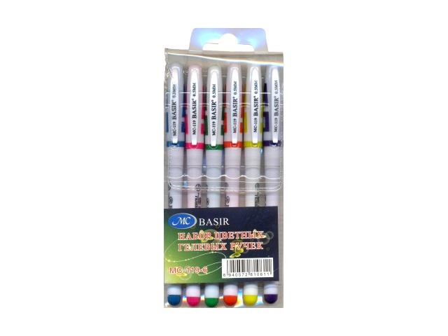 Ручка гелевая набор  6цв Basir 0.5мм МС-119-6
