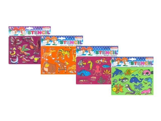 Трафарет А5 Животные с раскраской Mazari М-6530