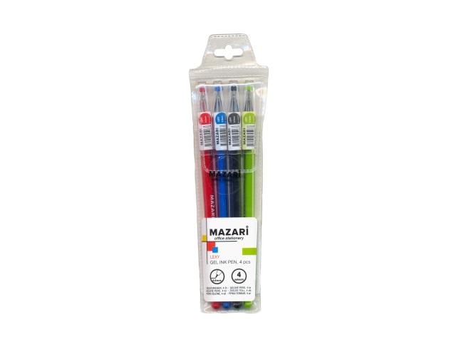 Ручка гелевая набор  4цв Mazari Lexy 0.5мм М-5507-4