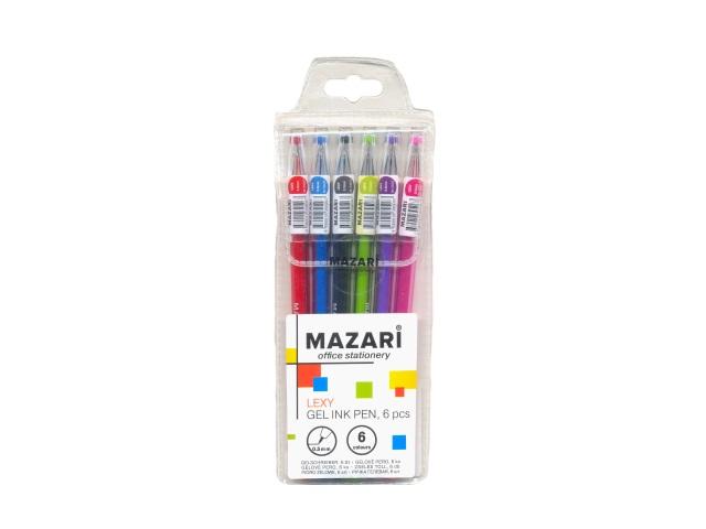 Ручка гелевая набор  6цв Mazari Lexy 0.5мм М-5507-6