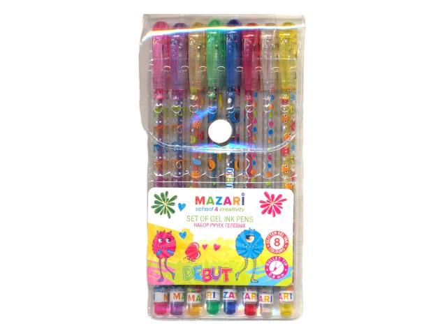 Ручка гелевая детская набор  8цв Mazari Debut 0.8мм с глиттером М-5514-8