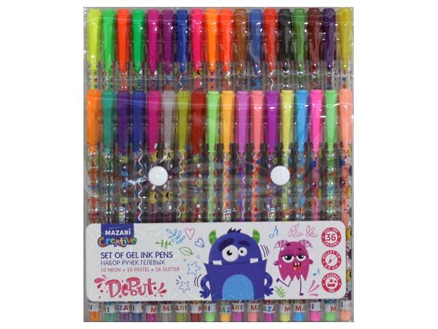 Ручка гелевая детская набор 36цв Mazari Debut 0.8мм с глиттером М-5514-36