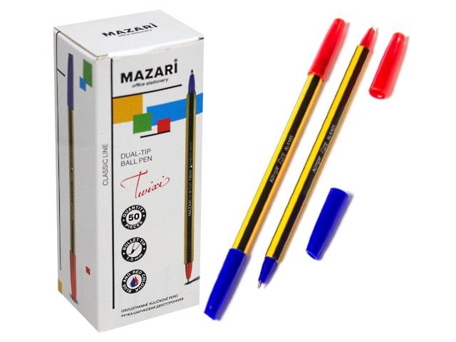 Ручка шариковая Mazari Twixi синяя/красная 1мм двусторонняя М-7325