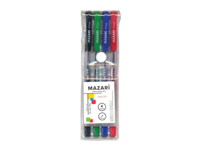 Ручка шариковая набор  4цв Mazari 0.7мм М-5700-4