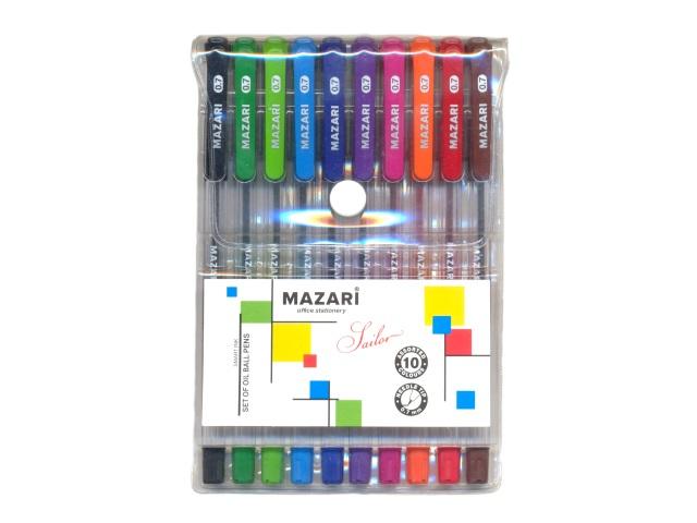 Ручка шариковая набор 10цв Mazari Sailor 0.7мм М-5700-10