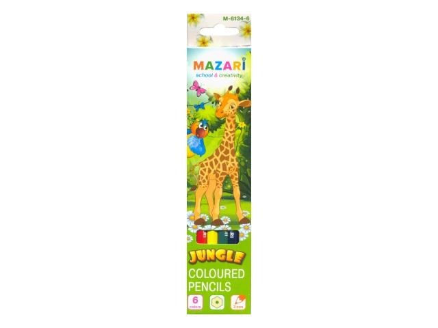 Карандаши цветные  6цв Mazari Jungle шестигранные М-6134-6