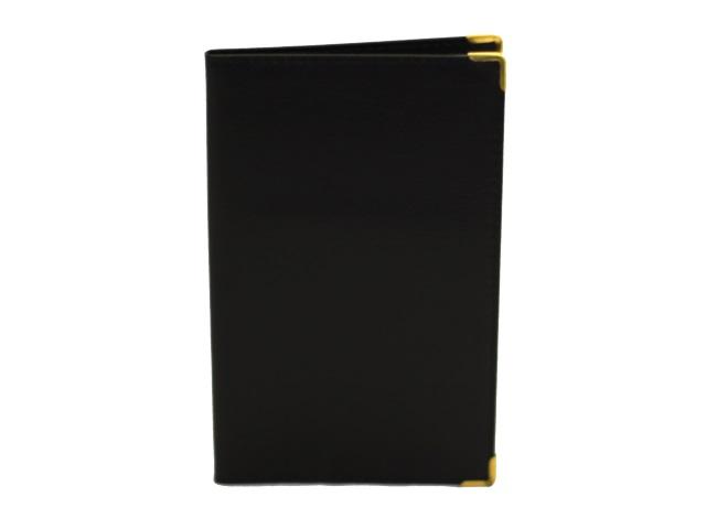 Визитница на  96 карт 11*18.5см ПВХ черная с металлическими углами EK-25015