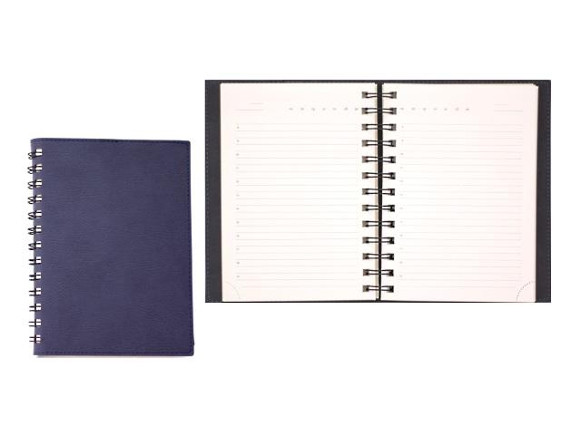 Ежедневник недатированный В6 кожзам мягкий 160 листов на спирали темно-синий, кремовый блок, в подарочной упаковке, DeVente 2035701
