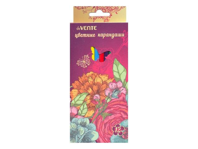 Карандаши цветные 12 цветов Flowers, шестигранные, DeVente 5022700