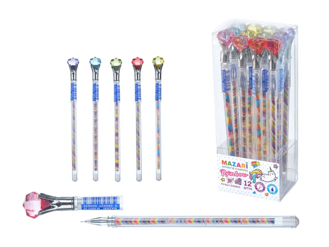 Ручка гелевая Mazari Rainbow Кристалл синяя 0.5мм М-5547