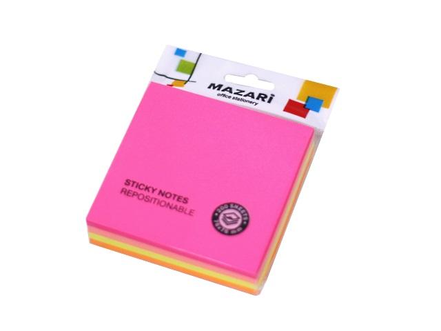 Стикер 76* 76мм 200л 4 цвета по 50л неон Mazari М-4534
