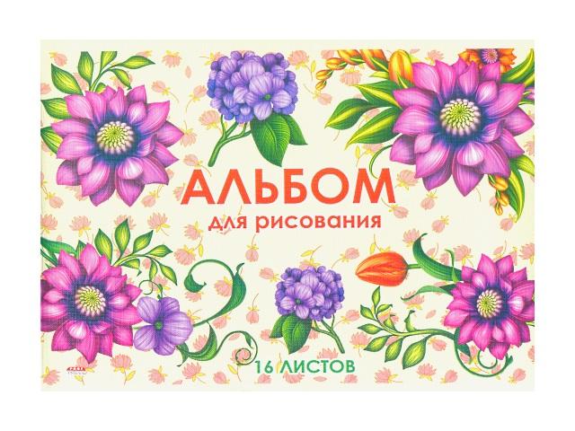 Альбом 16л А4 на скобах лён Цветочный хоровод 100 г/м2 Prof Press 16-2674