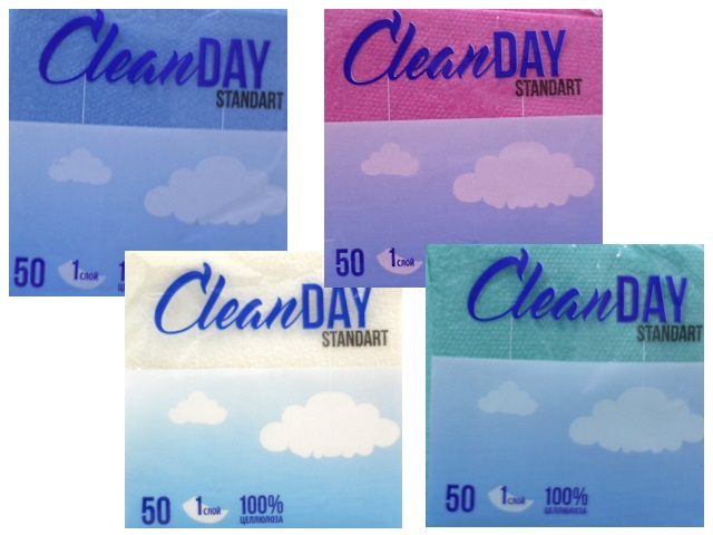Салфетки бумажные однослойные  50 шт. цветные Clean Day