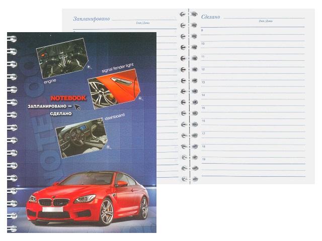 Ежедневник А6 м/обложка спираль сбоку  64л Красный автомобиль Plano С1759-01