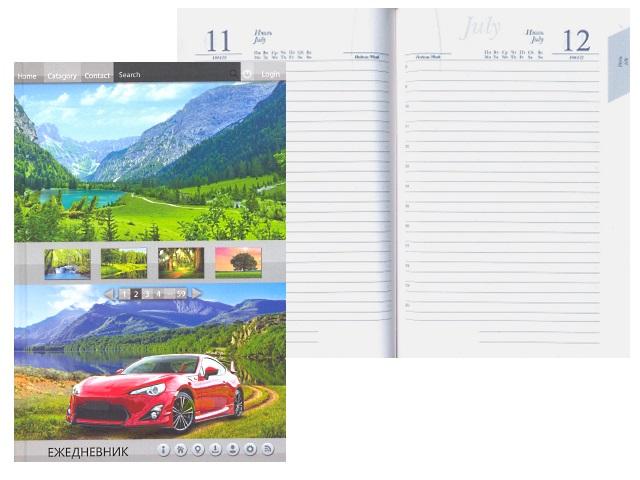 Ежедневник А5 полудатированный тв/обложка 192л Красный спорткар Plano С3608-05