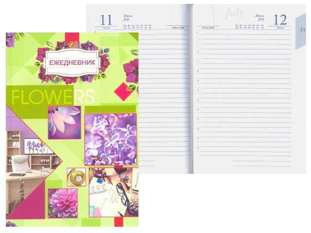 Ежедневник А5 полудатированный тв/обложка 192л Цветочный коллаж Plano С3608-02