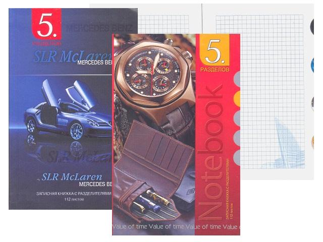 Записная книжка А6 5 разделов интегр/обл  56л Ассорти Plano С0330