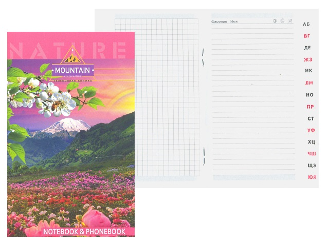 Алфавитник А6 мягкая обложка на скобе сбоку Весна в горах, 48 листов, Plano С0228-48