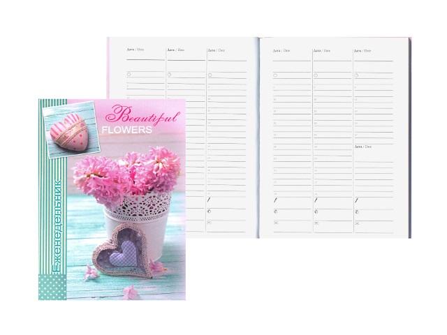 Еженедельник недатированный А5 твердая обложка 64 листа Цветы и сердце, Prof Press 64-3755