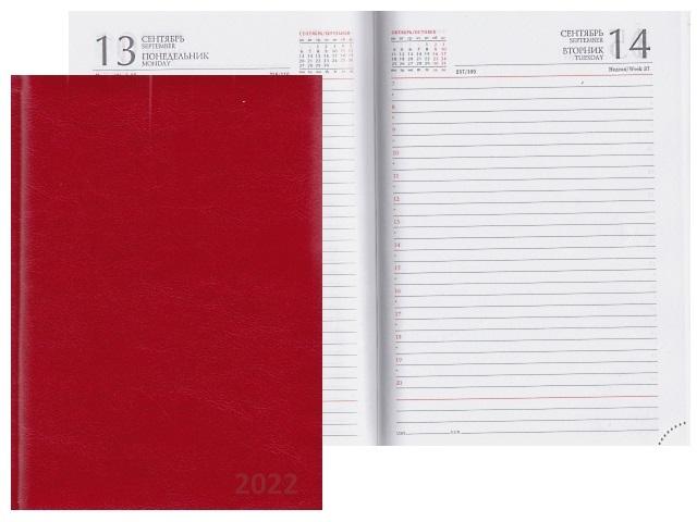 Ежедневник 2021 А5 кожзам 168л Collezione Виладж красный 168-0720