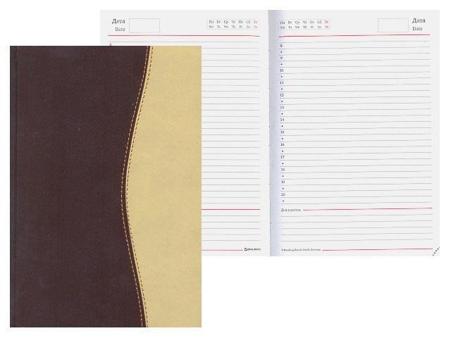 Ежедневник недатированный А5 кожзам 160 листов коричневый, Brauberg 123403