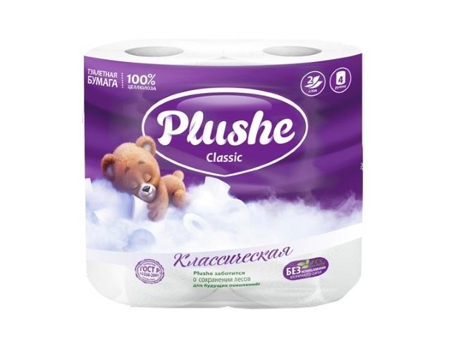 Бумага туалетная двухслойная 4 рулона Белая Plushe classic