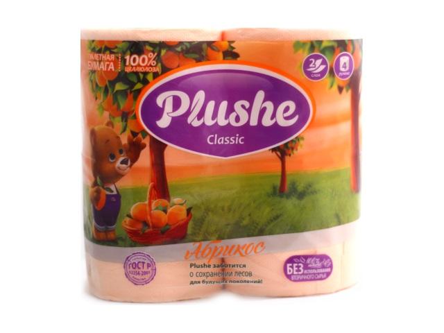 Бумага туалетная двухслойная 4 рулона Абрикос Plushe classic