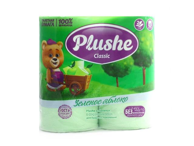 Бумага туалетная двухслойная 4 рулона Зеленое яблоко Plushe classic