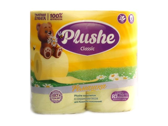 Бумага туалетная двухслойная 4 рулона Ромашка Plushe classic
