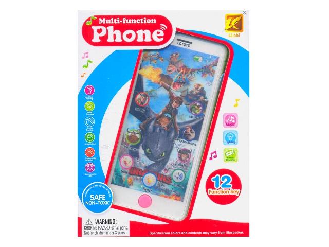 Телефон музыкальный пластиковый Phone сенсорный 12 функций, в коробке