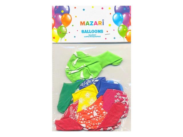 """Шары 12""""  10 шт. Позитив цветные с рисунком Mazari М-8884"""