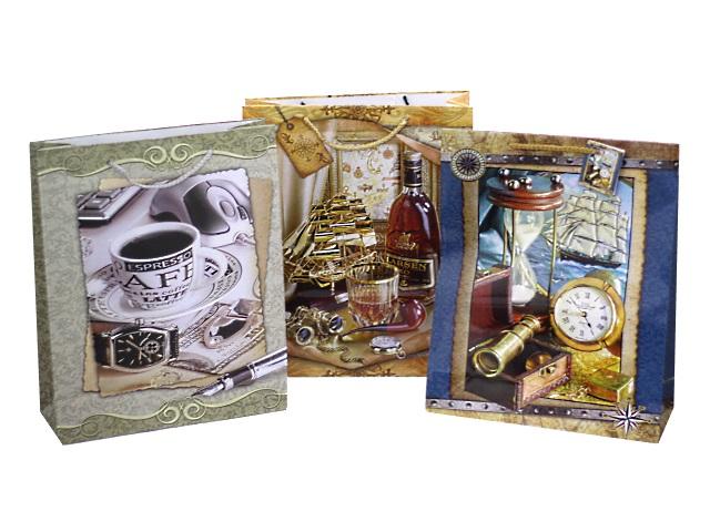 Пакет подарочный бумажный 32*26*10см Мужской Mazari М-8009