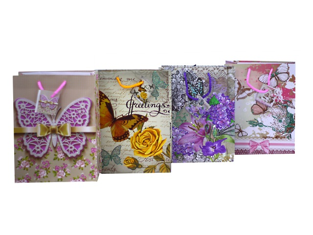 Пакет подарочный бумажный 23*18*10см Бабочки Mazari М-8027
